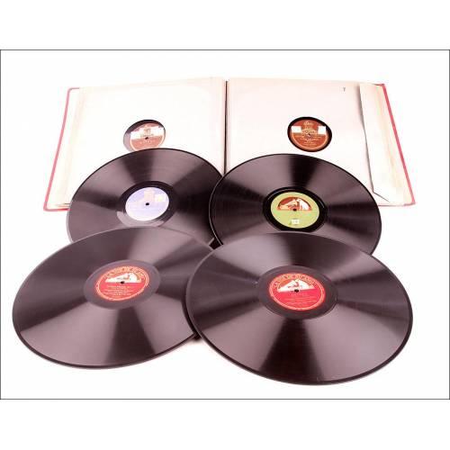 Álbum con 12 Discos de Gramófono Antiguos. Ópera, Música Clásica y Popular. Álbum Original