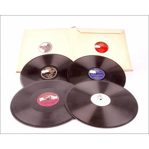 Álbum con 12 Discos de Gramófono Antiguos. Música Clásica, Popular, Ópera y Zarzuela.
