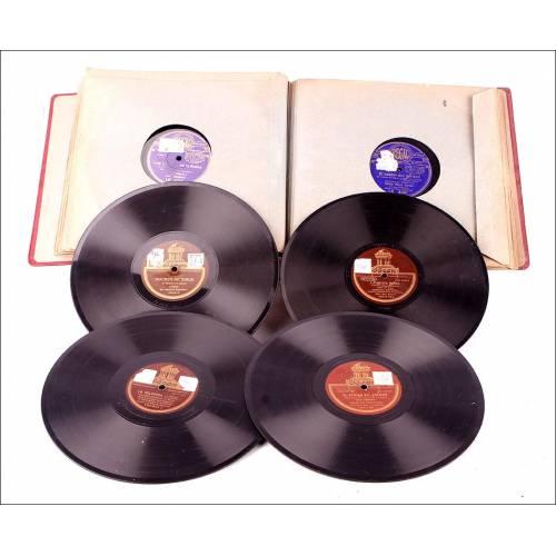 Álbum con 12 Discos de Gramófono Antiguos. Música Española