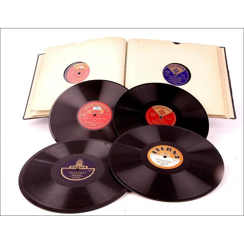 Álbum con 12 Discos de Gramófono Antiguos. Música Clásica y Operetas.
