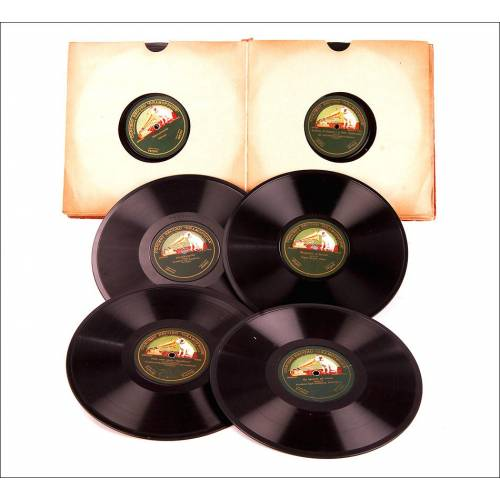 Álbum con 12 Discos de Gramófono Antiguos. Música Clásica y Tradicional. Álbum Original