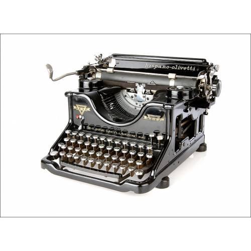 Soberbia Máquina de Escribir Antigua Hispano Olivetti M40. España, Años 30