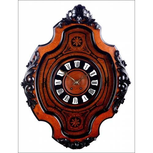 Elegante Reloj de Pared Antiguo Tipo Ojo de Buey. Restaurado. Francia, 1880