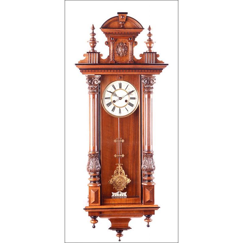 Reloj de Pared Antiguo. Fabricado por HAC. Alemania, Circa 1900.