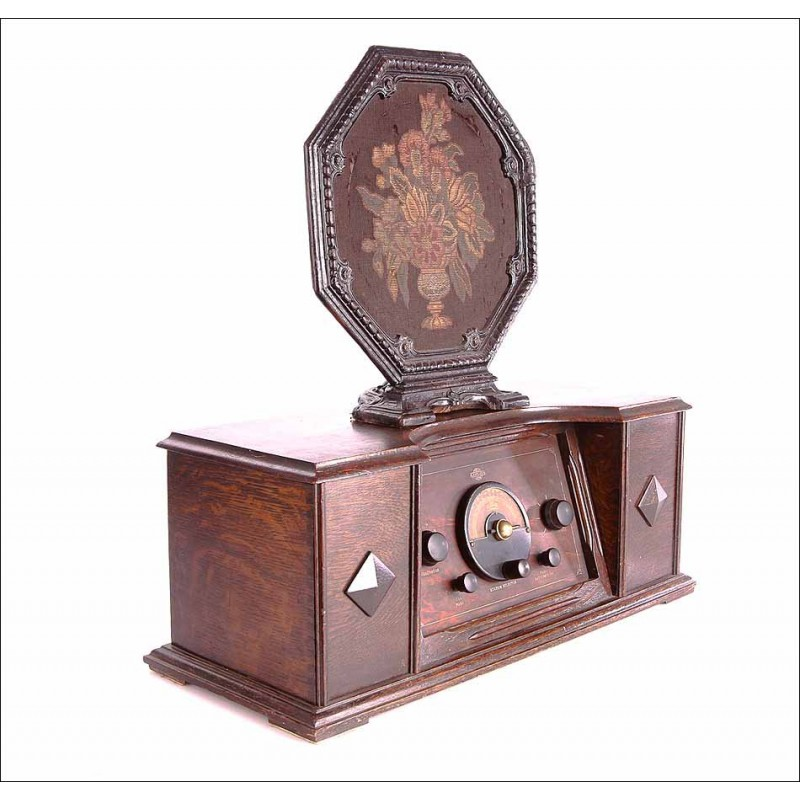 Antigua Radio de Válvulas Marca Lamplugh en Funcionamiento. Inglaterra, Años 20