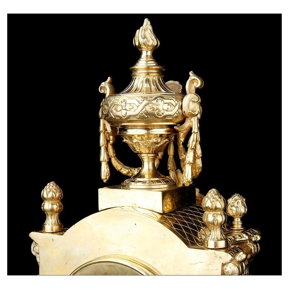 Reloj de sobremesa de bronce con candelabros antiguo - Relojes de sobremesa antiguos ...