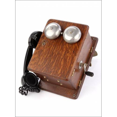 Antiguo Teléfono Intercomunicador para Estación de Tren. España, Años 40