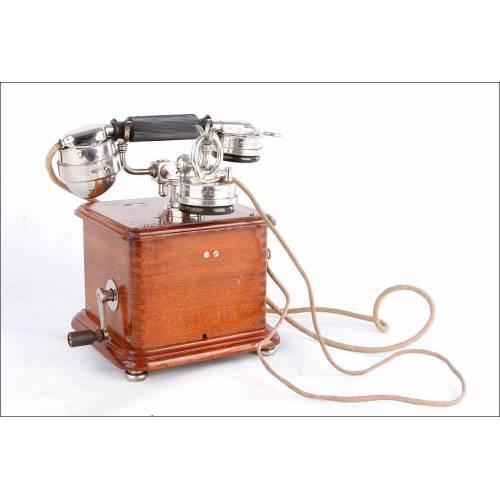 Precioso Teléfono Antiguo Mod. 1910 en Madera y Metal Cromado. Francia, 1927