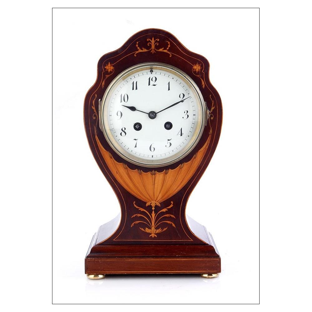 Raro reloj de sobremesa antiguo de caoba y con marqueter a - Relojes de sobremesa antiguos ...