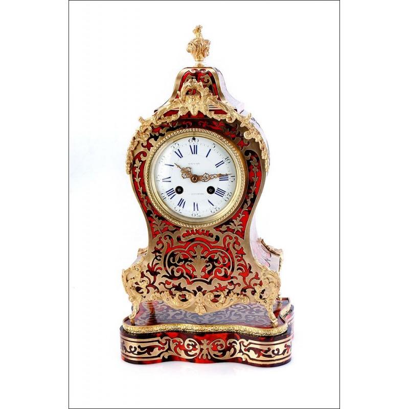 Antiguo Reloj de Sobremesa Decorado con Marquetería Boulle. Francia, Siglo XIX