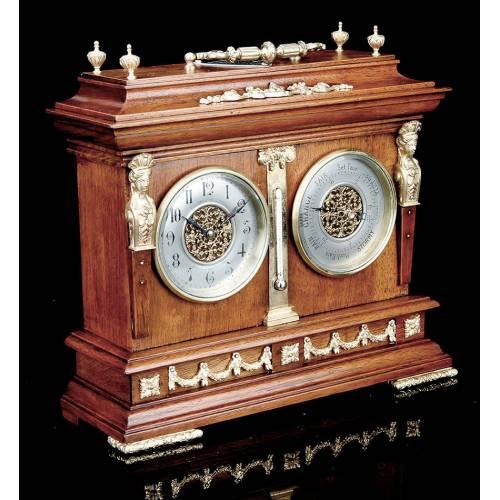 Imponente Reloj de Despacho Antiguo con Termómetro y Barómetro. Inglaterra, 1889