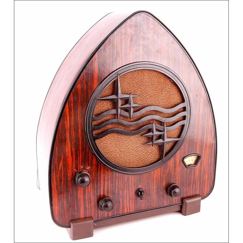 """Antigua Radio de válvulas Philips 930A. También Llamada """"Lata de Jamón"""". Holanda, 1932"""