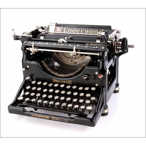 Soberbia Máquina de Escribir Antigua Underwood 5 con Teclado en Español. USA, 1920