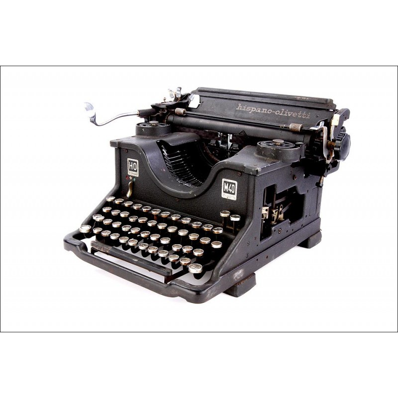 Hermosa Máquina de Escribir Antigua Hispano-Olivetti M40. España, Años 40