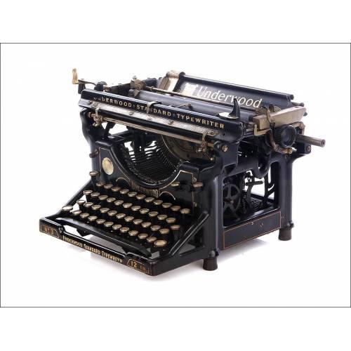 Antigua Máquina de Escribir Underwood 3 con Teclado en Español. USA, Años 20