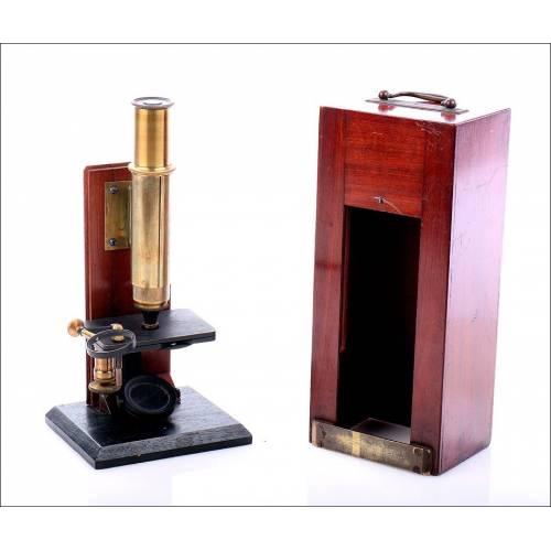 Rarísimo Microscopio Antiguo Fabricado Posiblemente por Secretan a Paris. Francia, Circa 1850