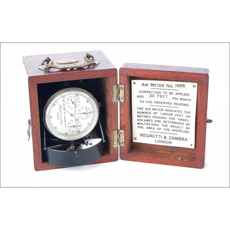Magnífico Anemómetro Antiguo Negretti y Zambra en Funcionamiento. Londres, Circa 1920