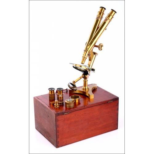 Impresionante Microscopio Binocular Antiguo R. & J. Beck en Muy Buen Estado. Londres, Circa 1890