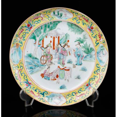 Plato Antiguo de Porcelana China. Dinastía Qing. China, Siglo XIX