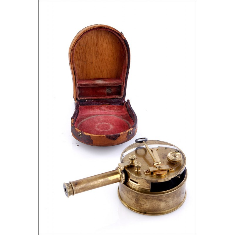 Fantástico Sextante de Tambor Antiguo William Ellliott. Inglaterra, 1833-49