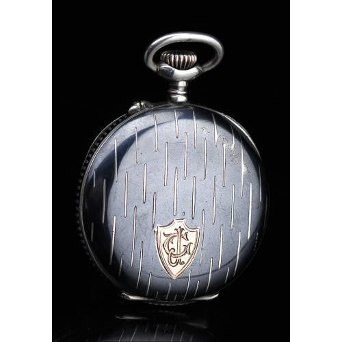 Delicado Reloj de Bolsillo Antiguo para Señora en Plata Nielada. Suiza, Circa 1890