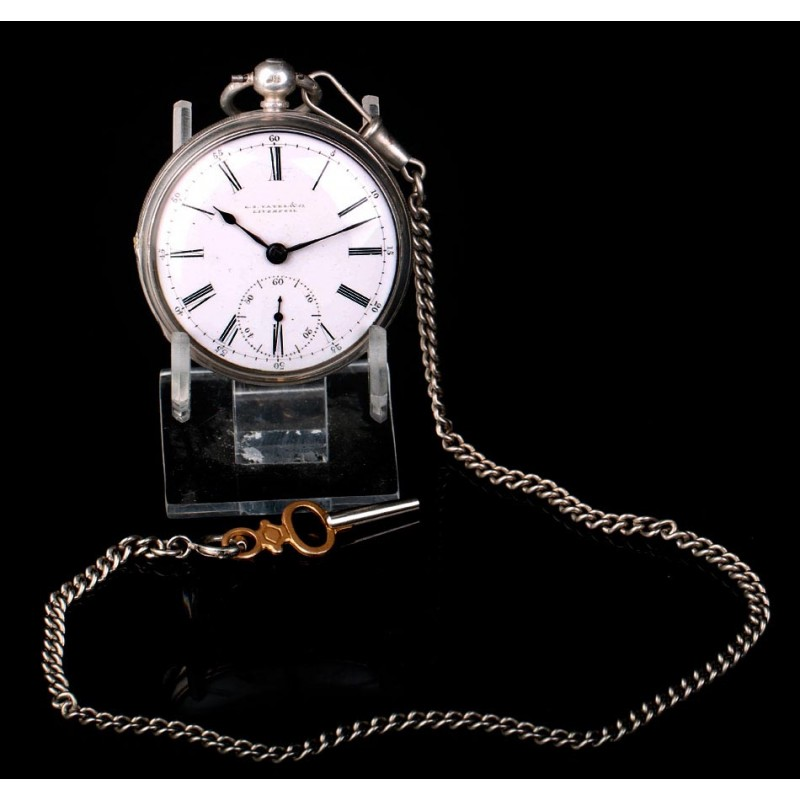 Antiguo Reloj de Bolsillo de Plata E. S. Yates & Co. En Funcionamiento. Inglaterra, 1874