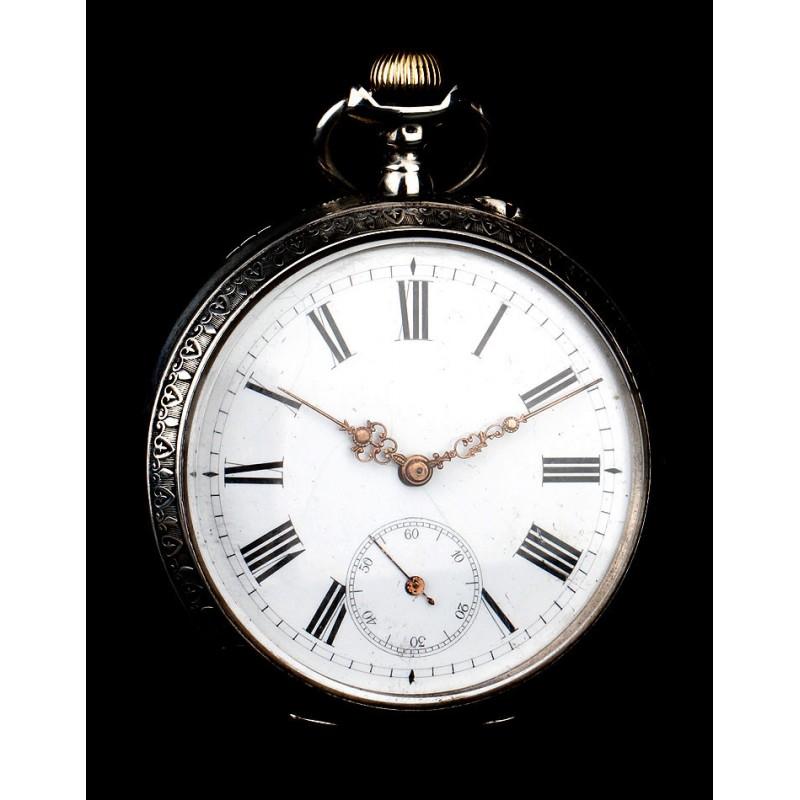 Elegante Reloj de Bolsillo Antiguo en Buen Estado. Funciona. Alemania, Circa 1890