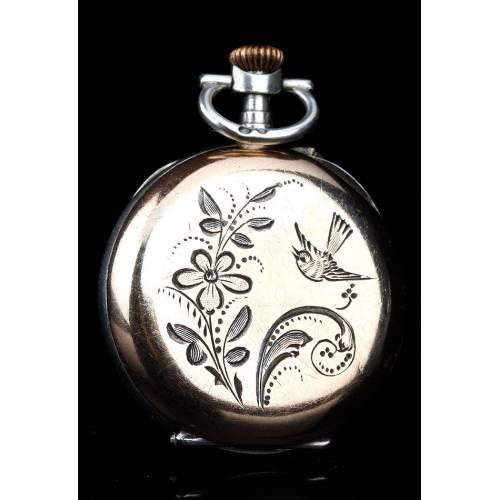 Antiguo Reloj de Bolsillo de Señora en Plata Dorada y Contrastada. Francia, Circa 1895