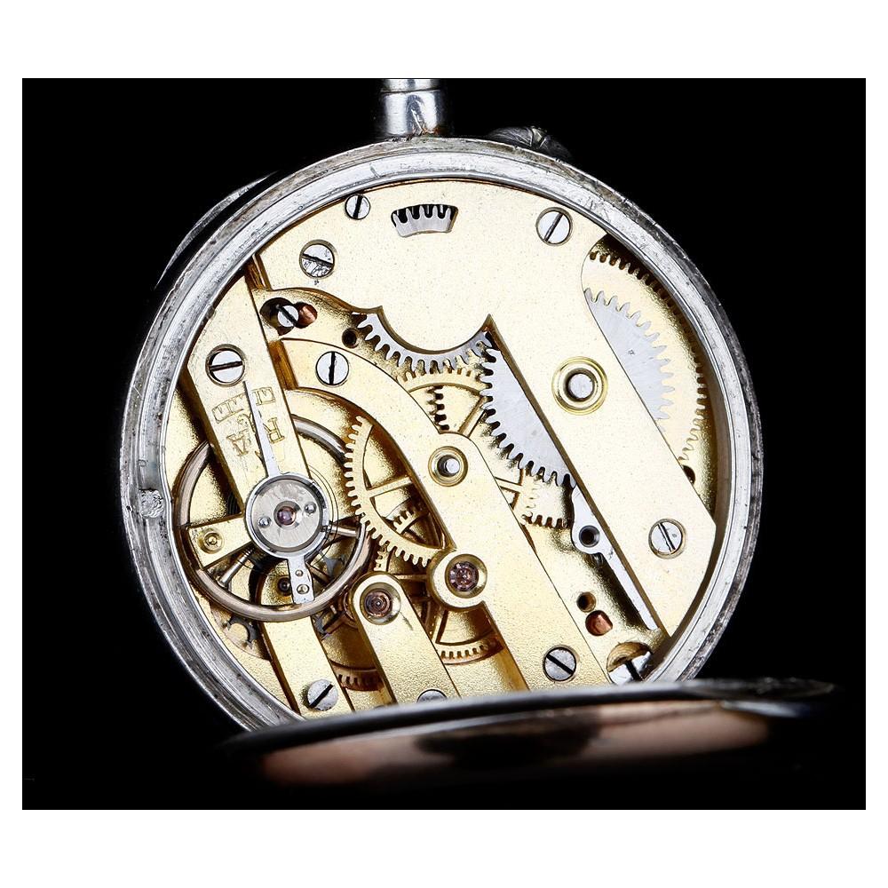 a0ba659c3025 Antiguo Reloj de Bolsillo de Plata Dorada