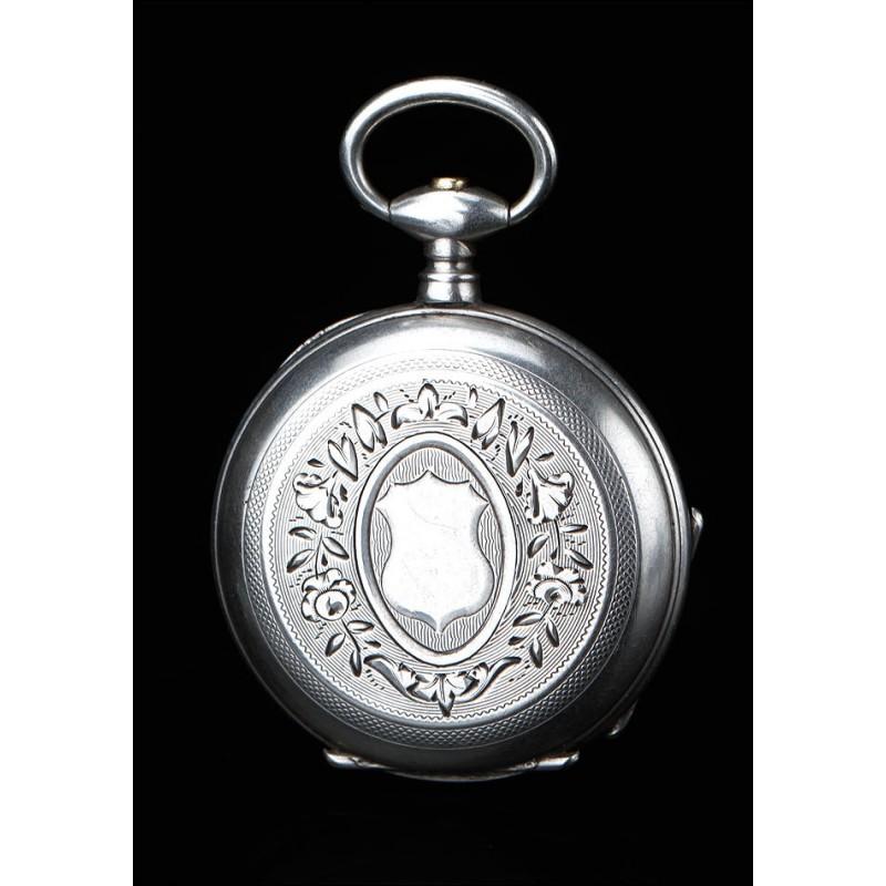 Antiguo Reloj de Bolsillo de Señora de Plata Maciza. Francia, Circa 1870