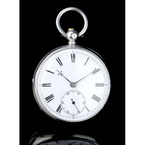 Elegante Reloj de Bolsillo Antiguo en Plata Maciza Contrastada. Londres, 1865