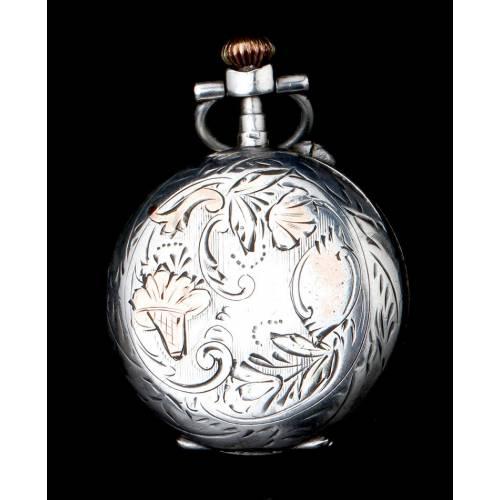Antiguo Reloj de Bolsillo para Señora en Plata. Funciona Muy Bien. Francia, Circa 1890