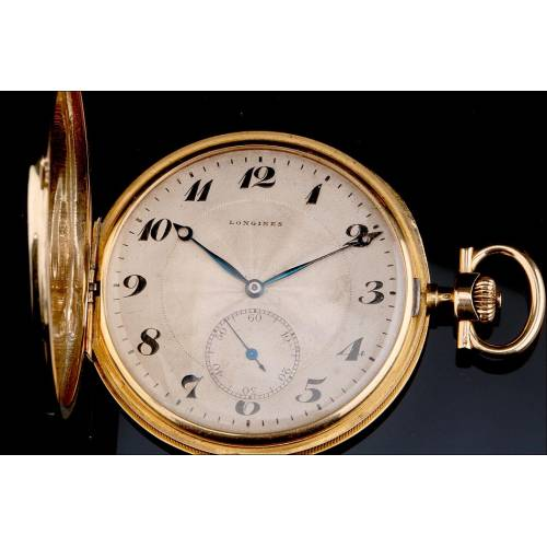Reloj de Bolsillo Longines Ultrafino. Oro de 18 K. Suiza, 1915