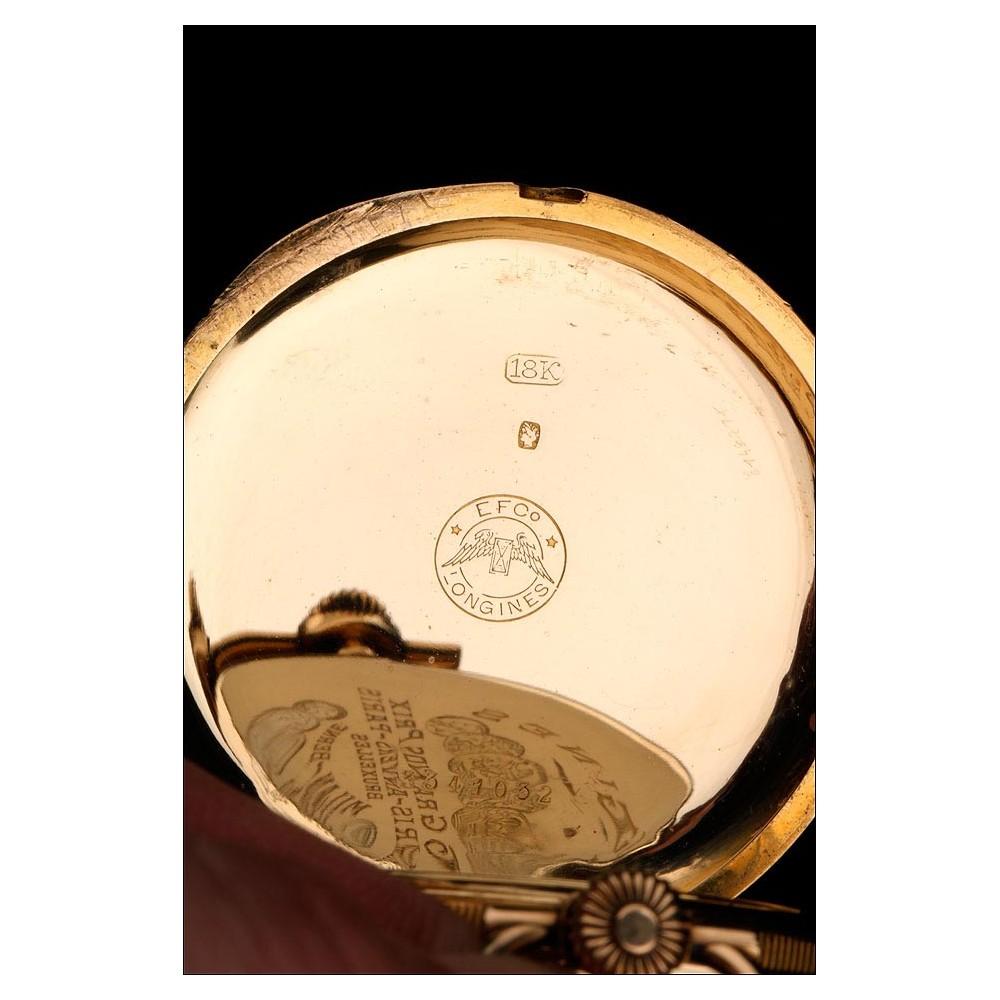 Reloj De Bolsillo Longines Ultrafino Oro De 18 Quilates