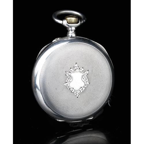 Precioso Reloj de Bolsillo Antiguo Phenix. Plata Contrastada. Suiza, Circa 1890