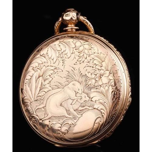 Raro Reloj de Bolsillo Antiguo en Oro Macizo de 18 Quilates. Charles Grosclaude. Suiza, Circa 1860