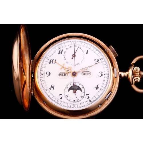 Reloj de bolsillo Antiguo Oro de 14 K con sonería de cuartos, cronómetro, calendario y fases lunares. Suiza, Circa 1880