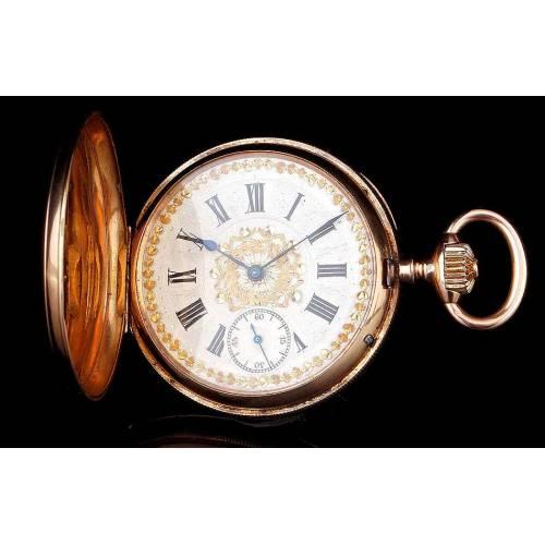 Antiguo Reloj Ginebrino Hughenin & Fils de Oro de 18 K. Funcionando. Suiza, Circa 1880