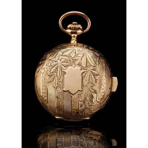 Antiguo Reloj de Bolsillo de Oro de 18K con Sonería de Cuartos. Suiza, Circa 1910