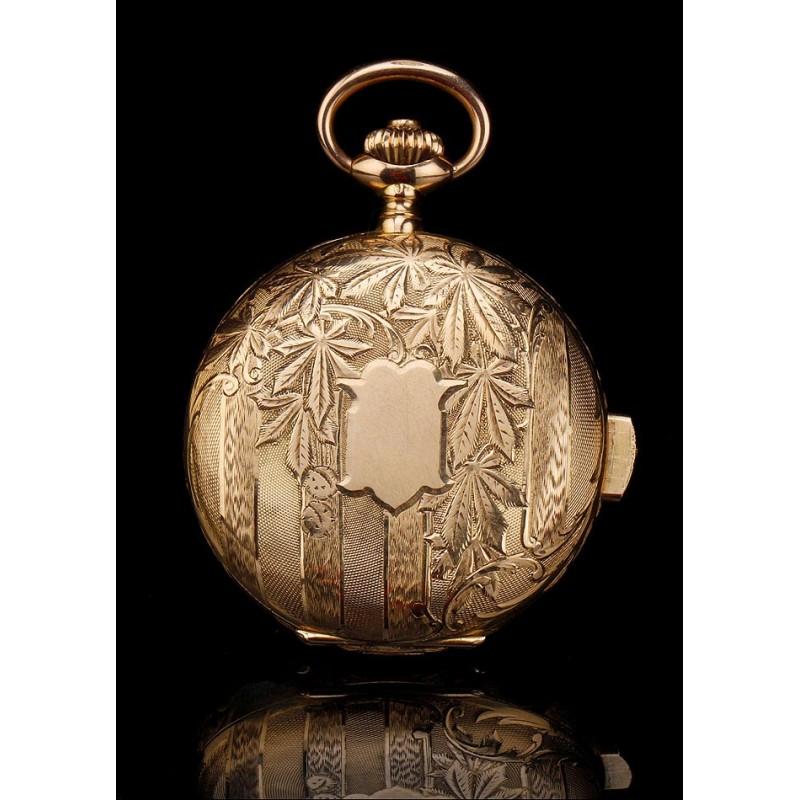 d96c5a996 Antiguo Reloj de Bolsillo de Oro de 18K con Sonería de Cuartos. Suiza,  Circa 1910