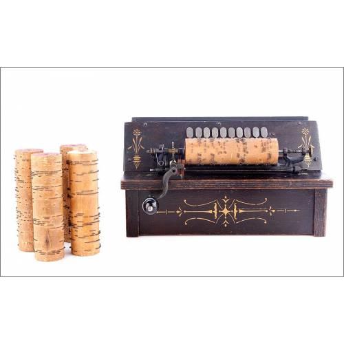 Antiguo Organillo de Rodillos The Gem en Perfecto Estado de Funcionamiento. Chicago, 1890