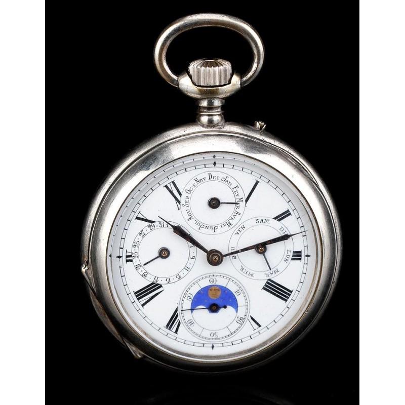 Precioso Reloj de Bolsillo Antiguo con Calendario. En Funcionamiento. Suiza, 1890
