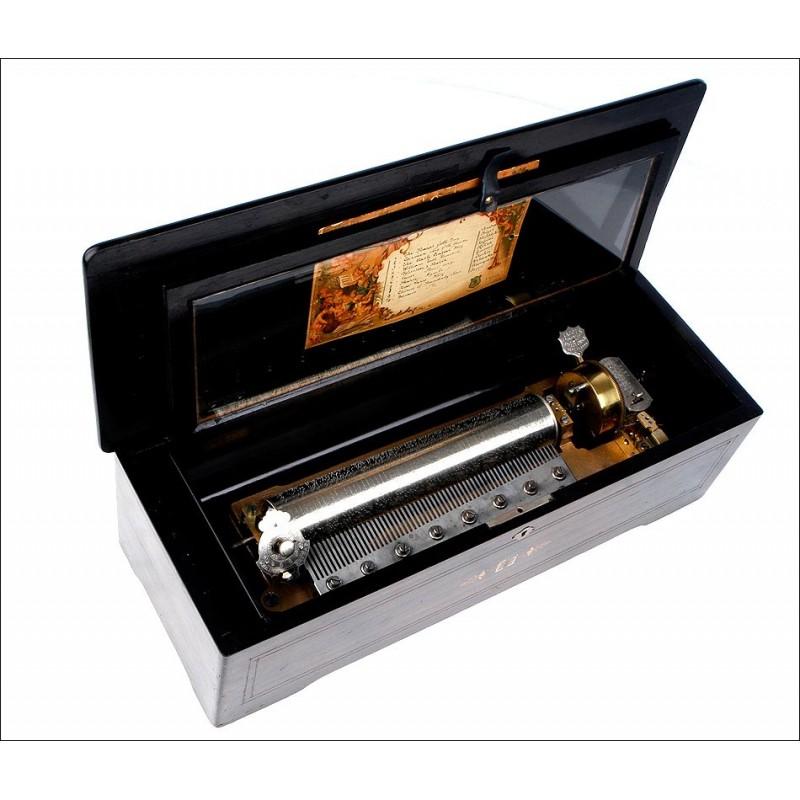 Gran caja de música Mermod Freres con 10 melodías. Fabricada en Suiza circa 1890.