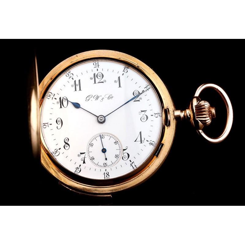 Antiguo Reloj de Bolsillo de Oro de 18K y Sonería a Minutos. Suiza, 1900