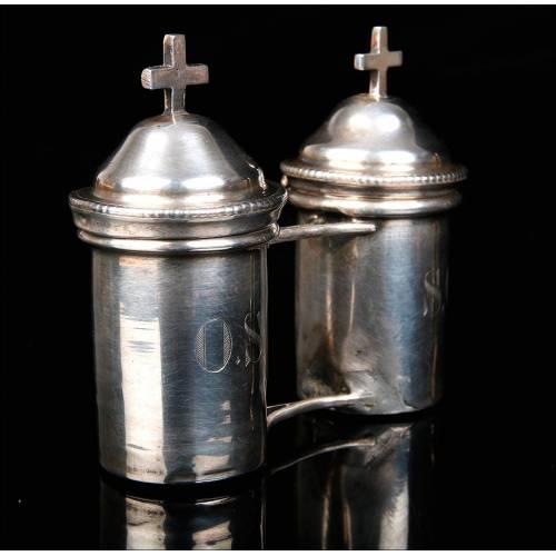 Antiguas Crismeras de Plata Maciza Originales de Época. Francia, Siglo XIX