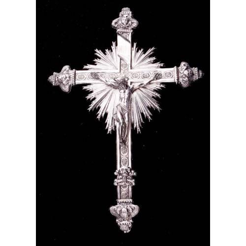 Magnífico Crucifijo Antiguo de Plata Maciza Labrada a Mano. Imperio Austro-Húngaro, S.XVIII- XIX