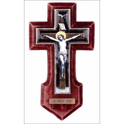 Precioso Crucifijo Antiguo de Esmalte de Limoges. Muy Buen Estado. Francia, Pps S. XX