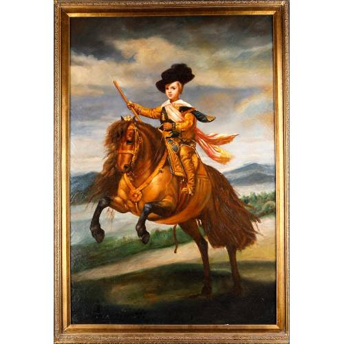 """Impresionante Óleo sobre Tabla. Copia de """"El Príncipe Baltasar Carlos a Caballo"""" de Velázquez. España, Años 50"""
