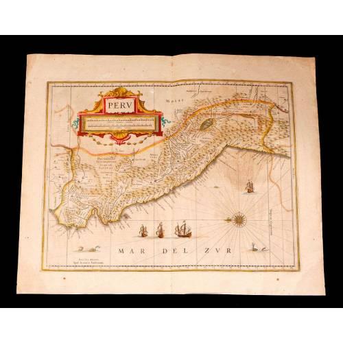 Maravilloso Mapa Antiguo del Perú con Coloreado de Época. Janssonius-Hondius. Holanda, 1638
