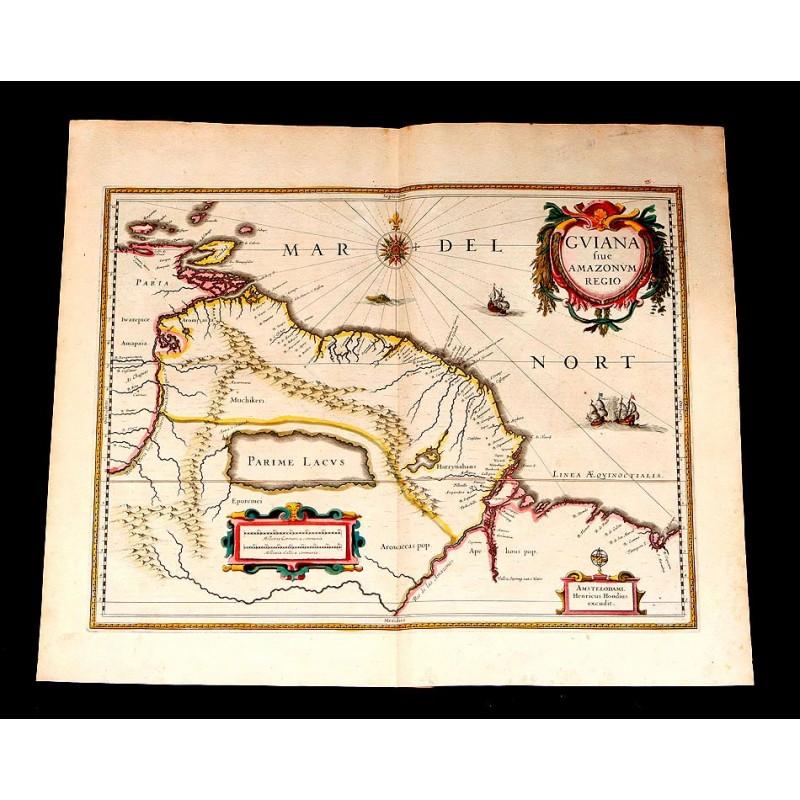 Precioso Mapa Antiguo de la Guayana Brasileña Coloreado a Mano. Janssonius-Hondius. Holanda, 1638